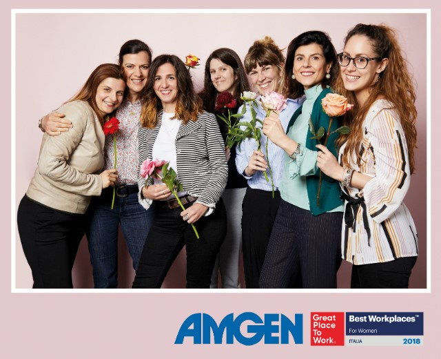 Image of cheerful ladies from Amgen Italy as it gets named in Best Workplace for Women.